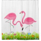 Pink Flamingos & Spring Grass & Flowers