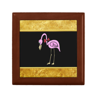 Pink Flamingos standing with a red bow tie Gift Box