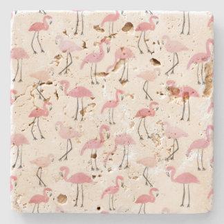 Pink Flamingos Stone Coaster