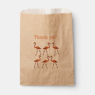Pink Flamingos Thank you Custom Kraft Favor Bag