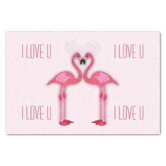 pink flamingos - tissue paper - I love u