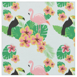 Pink Flamingos, Toucans, Tropical Flowers Fabric