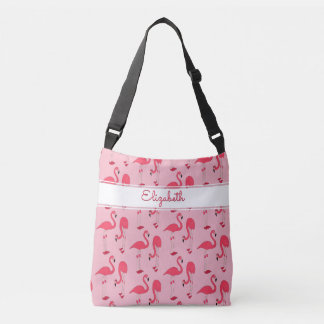 Pink Flamingos Trendy Novelty Pattern with Name Crossbody Bag