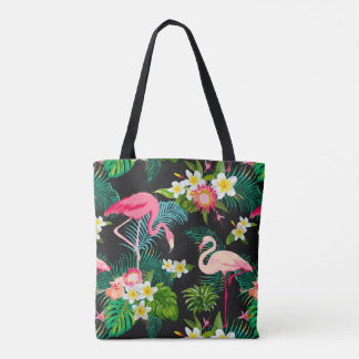Pink Flamingos Tropical Floral Pattern Tote Bag