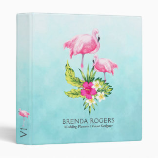 Pink Flamingos & Tropical Flowers Bouquet 3 Ring Binder