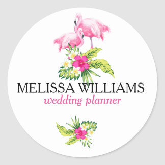 Pink Flamingos & Tropical Flowers Bouquet Round Sticker