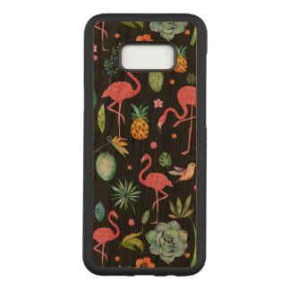 Pink Flamingos & Tropical Flowers Carved Samsung Galaxy S8+ Case