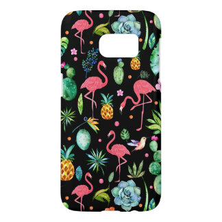Pink Flamingos & Tropical Flowers & Succulents GR3 Samsung Galaxy S7 Case