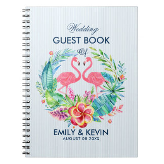 Pink Flamingos & Tropical Flowers Wreath Notebook