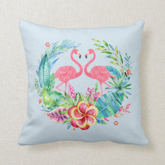 Pink Flamingos Tropical Flowers Wreath Throw Pillow