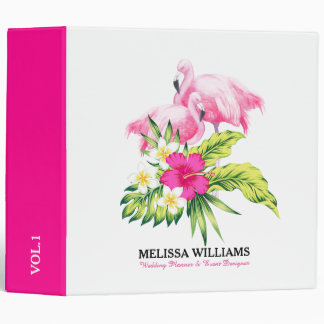 Pink Flamingos & Tropical Hibiscus Vinyl Binder
