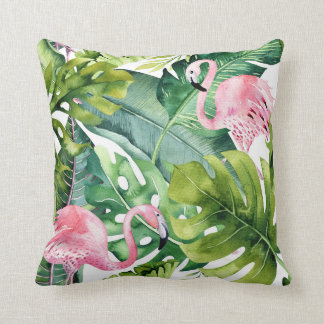 Pink Flamingos & Tropical Palm Leaves Throw Pillow