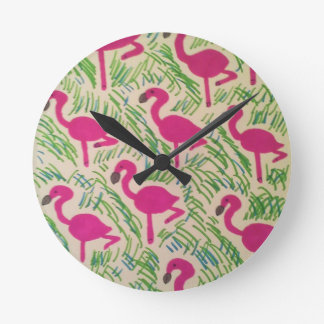 Pink Flamingos Tropical Pattern Round Clock