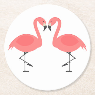 Pink Flamingos Tropical Wedding, Party, Luau Round Paper Coaster