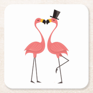 Pink Flamingos Tropical Wedding, Party, Luau Square Paper Coaster