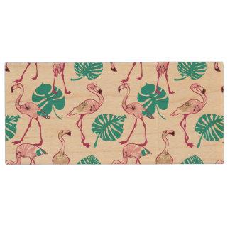 Pink Flamingos Wood USB 2.0 Flash Drive