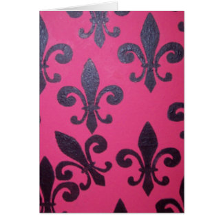 Pink Fleur De Lis Happy Birthday Card