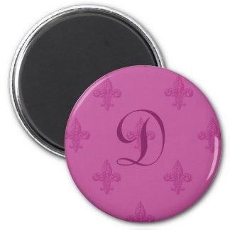 Pink Fleur De Lis 2 Inch Round Magnet