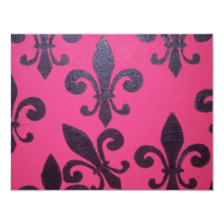 Pink fleur de lis painting card