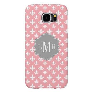 Pink Fleur De Lis Pattern Monogram Samsung Galaxy S6 Case