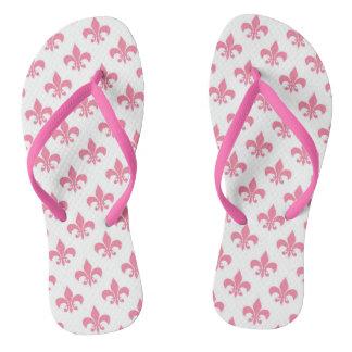 Pink Fleur-de-lis Slim Strap Flip Flops