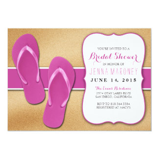 Pink Flip Flops in the Sand Bridal Shower Invite