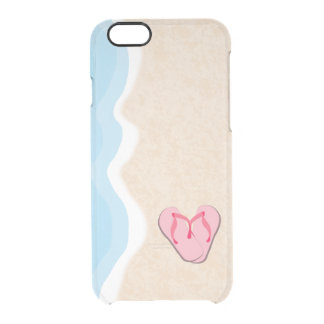 Pink Flip Flops on the Beach Clear iPhone 6/6S Case