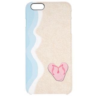 Pink Flip Flops on the Beach Clear iPhone 6 Plus Case
