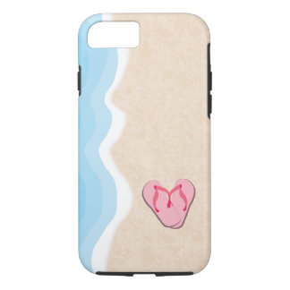 Pink Flip Flops on the Beach iPhone 7 Case