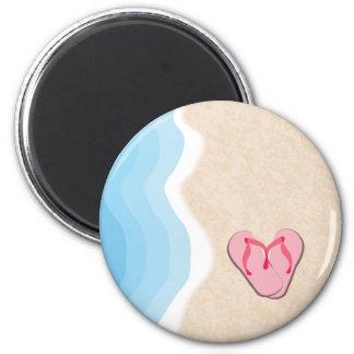 Pink Flip-Flops on the Beach Magnet