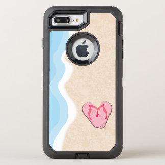 Pink Flip Flops on the Beach OtterBox Defender iPhone 8 Plus/7 Plus Case