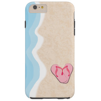 Pink Flip Flops on the Beach Tough iPhone 6 Plus Case
