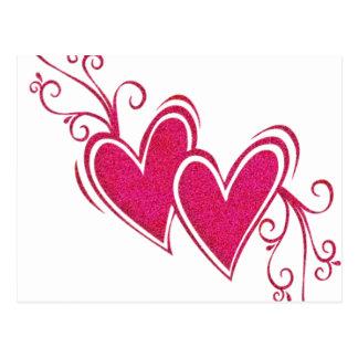 Pink Floating Hearts Postcard