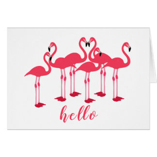 """Pink Flock Of Flamingos """"Hello"""" Note Card"""