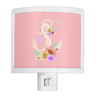 Pink Floral Anchor Night Lite