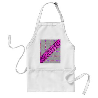 Pink Floral and Cheetah Print Stripes Standard Apron