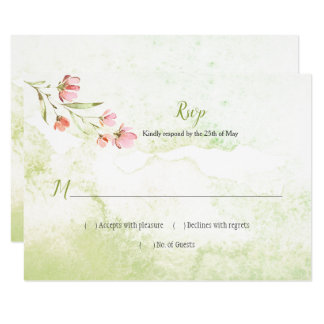 Pink Floral and Green Watercolor Splash RSVP Card