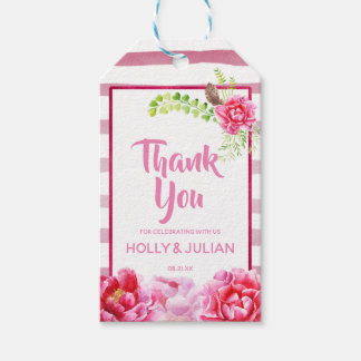 Pink Floral and Stripe Thank You Favor Tags