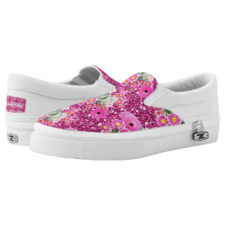 Pink Floral Arrangement Faux Glitter Spring Fever Slip-On Sneakers