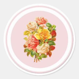 Pink Floral Arrangement Vintage Roses Round Sticker
