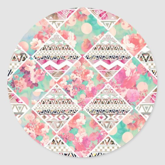 Pink Floral Aztec Watercolor Chequered Pattern Classic Round Sticker