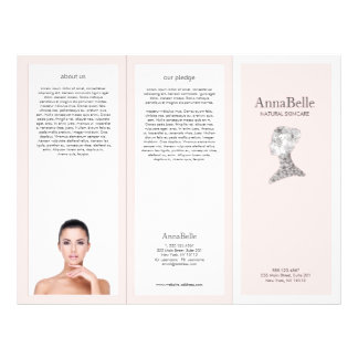 Pink Floral beauty Girl Spa Salon TriFold Brochure