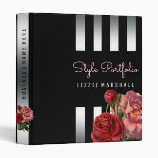 Pink Floral | Black Silver Stripes Hair Stylist Vinyl Binders