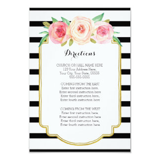 "Pink Floral Black Stripes Wedding Direction Insert 3.5"" X 5"" Invitation Card"