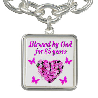 PINK FLORAL BLESSED BY GOD FOR 85 YEARS BRACELETS