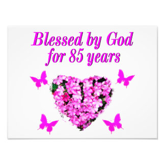 PINK FLORAL BLESSED BY GOD FOR 85 YEARS PHOTOGRAPH
