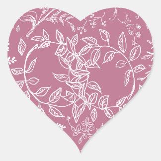Pink floral blossom pattern heart sticker