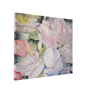 Pink Floral Blossoms Watercolor Canvas Print 24x18