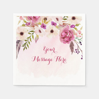 Pink Floral Boho Bridal Shower Napkin