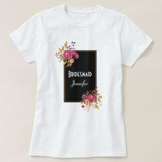 Pink Floral Bouquet on Black Frame T-Shirt